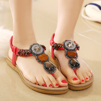 Bohemian crystal female flat heel sandals (Red)