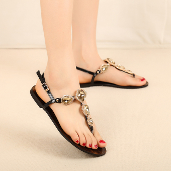 Bohemian crystal female flat sandals (Black)