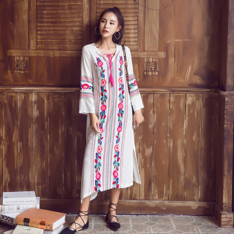 Bohemian embroidered Spring and Autumn New style dress beach skirt