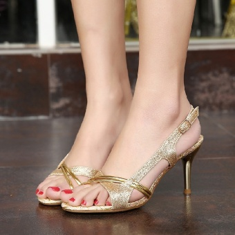 Bohemian New style thin heeled high-heeled women's sandals (Gold with high 7 cm)