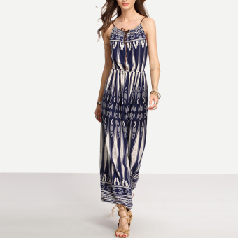 Bohemian Style Summer Women Strap Print Long Maxi Beach Dress