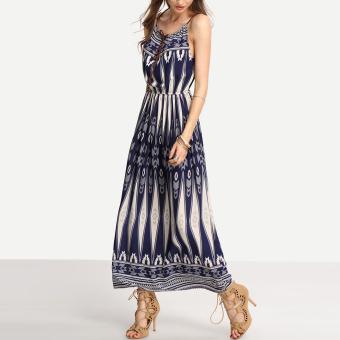 Bohemian Style Summer Women Strap Print Long Maxi Beach Dress - 2