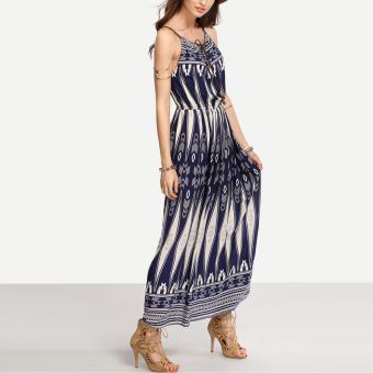 Bohemian Style Summer Women Strap Print Long Maxi Beach Dress - 3