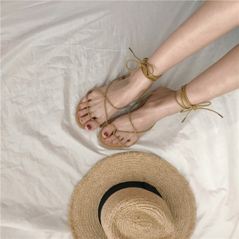 Bohemian summer cross gladiator sandals (Beige)