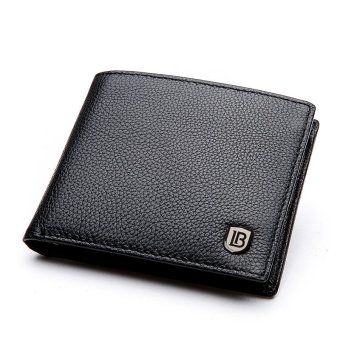 Bostanten Cowhide Leather Simple Checkbook Card Holder Bifold Wallet for Men (Black)