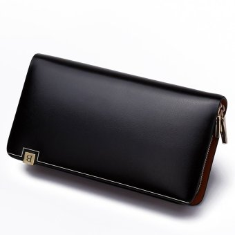 Bostanten Men's Cow Leather Clutch Bag Classic Checkbook Wallet (Black)+ Free Genuine Leather Keychain
