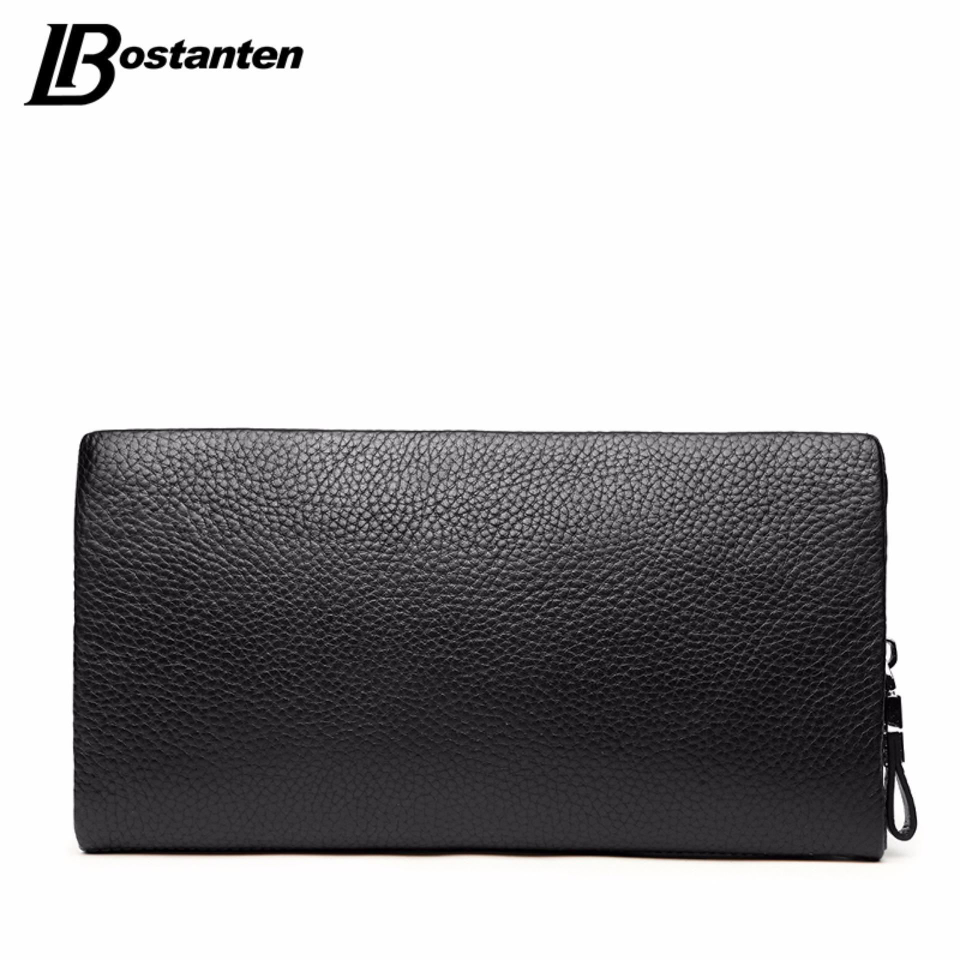 Bostanten Men's Genuine Cowhide Leather Clutch Bag Zipper Wallet Newest 2017 Black -