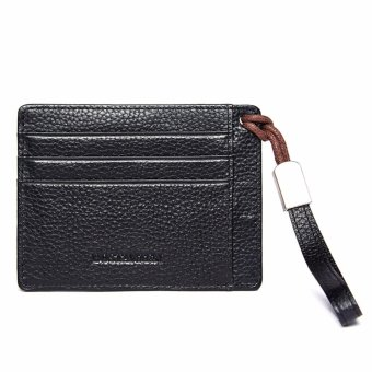 Bostanten Men's Leather Cowhide Fashion Coin Purse Card Holders Black - intl - 2