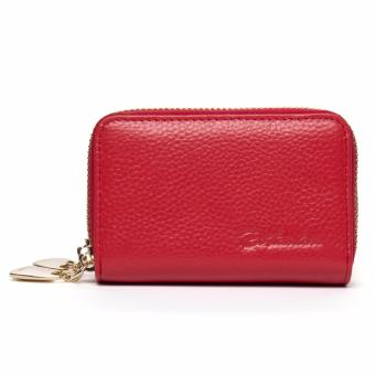 BOSTANTEN Mini Genuine Leather Wallet Bank/Name Card Holder DoubleZipper Credit Card Holders Women Men ID Card Case Purses Bag - intl