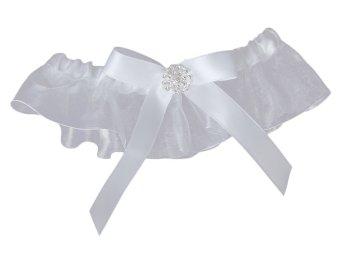 Bow Wedding Garter Satin Toss (White)