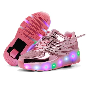 Boy And Girl's LED Light Up Roller Skate Shoes With Wheels Or Wings Outdoor Fashion Sneakers (Pink) - intl
