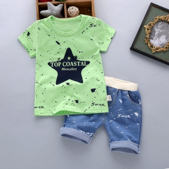 Boy's New Style Bamboo Cotton Short sleeved t-shirt (Summer ink star-green)