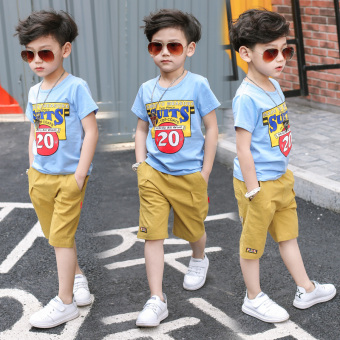 Boy's New style children's T-shirt (081 sky blue color)
