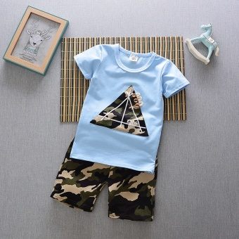Boys' Two-piece Korean-style Sport Outfit Set (Summer camouflage triangle short sleeved sets [Blue])