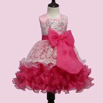 Brand Baby Girl Dress Children Kids Dresses For Girls 3 4 5 6 7 8Year Birthday Outfits Dresses Girls Evening Party Formal Wear(Pink) - intl
