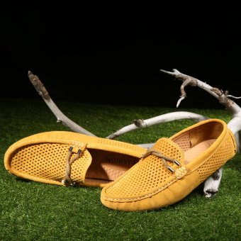 Breathable Genuine Leather Men's Loafers - Yellow - picture 2