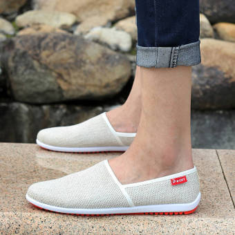 Breathable Linen Summer Fashion Sports Shoes - Beige
