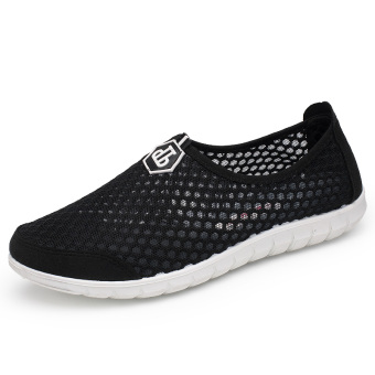 Breathable mesh female face casual shoes mesh shoes (Black)