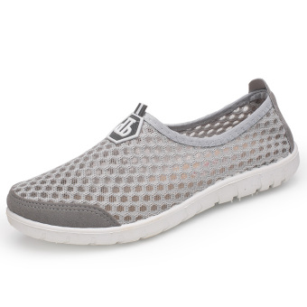 Breathable mesh female face casual shoes mesh shoes (Light gray color)