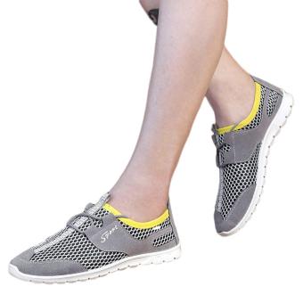 Breathable Mesh Men Low Cut Sneakers (Grey)
