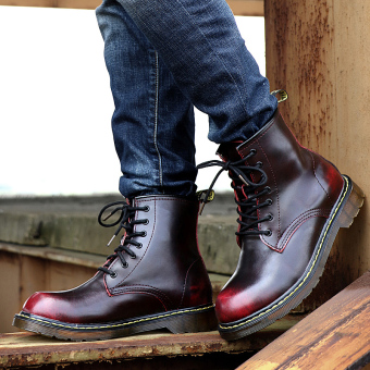 British elevator tooling retro short boots Dr. Martens (Wine Hong)