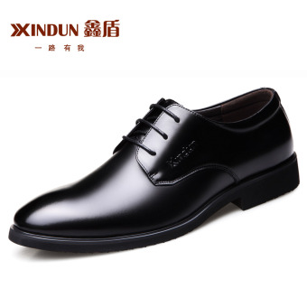 British Leather black business shoes men's leather shoes (Black)
