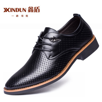 British Leather black New style casual shoes men's leather shoes (Black punch)