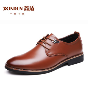 British Leather black New style casual shoes men's leather shoes (Brown)