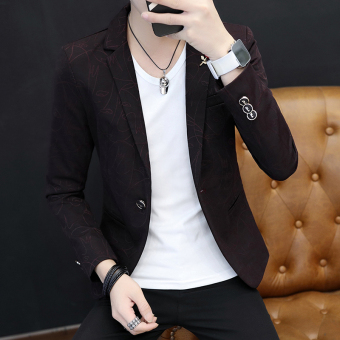 British Slim fit men's youth Korean-style suit jacket casual suit (902 black color)