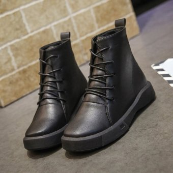 British style female autumn New style women's shoes Martin boots (Black)