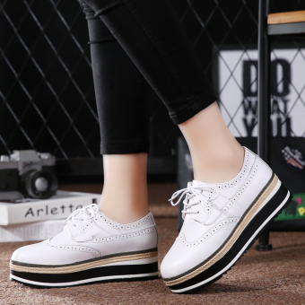 British style leather Spring and Autumn New style women's shoes (White)