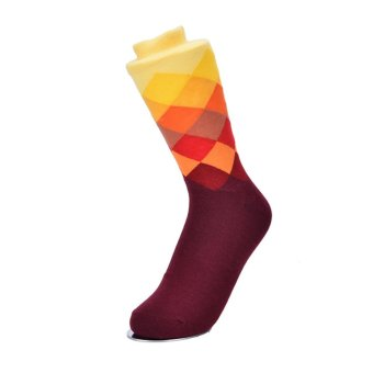 British Style Plaid Gradient Color Elite Long Cotton Socks RhombiHappy Socks Type 5 - intl Price Philippines