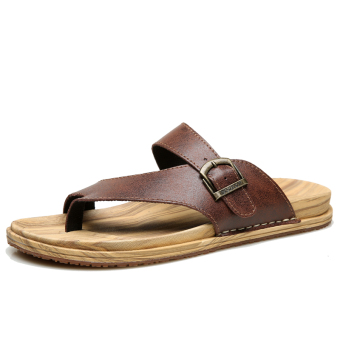 British summer non-slip cool beach shoes flip-flops (Brown)