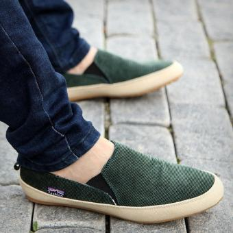 Britsh Men's Casual Canvas Sneakers Slip On Loafer Moccasin Zapato Breathe Shoes GREEN