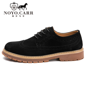 Brogue Korean-style men New style varved shoes men's casual shoes (Men's + Black PA001)