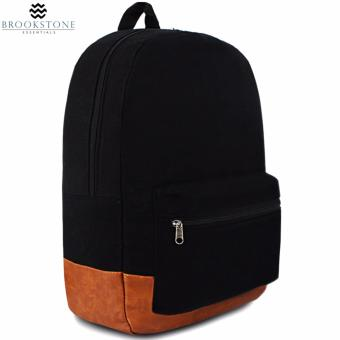 "Brookstone Plain Black 18"" Casual Backpack"