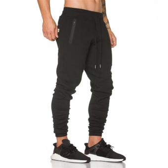 Brother casual breathable running fitness pants Slim fit I pants (Black)