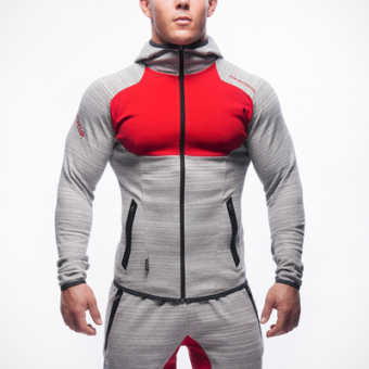 Brother men muscle fitness Top hooded hoodie (Red)