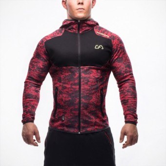 Brother men muscle fitness Top hooded hoodie (Red Camouflage)