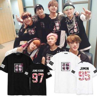 BTS bullet proof youth team Sakura T-shirt black(JUNG KOOK) - intl - 2