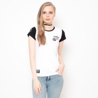 Bum Ladies Round Neck Tee With Patches (White Black)