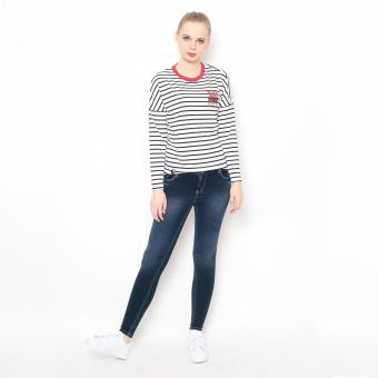Bum Ladies Striper Long Tee (White/Black/Red)