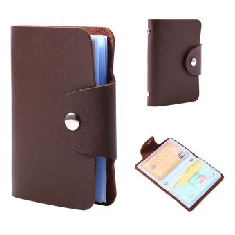 Price list new business card holder pocket pu leather wallet for 24 business card holder pocket pu leather wallet for 24 cards brown intl reheart Images