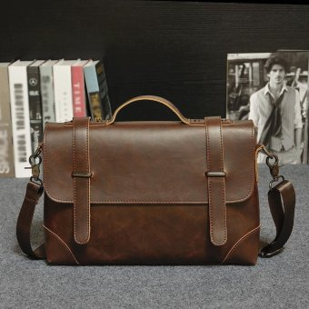Business Tote Single Shoulder Large Capacity Leather Bag for Men (coffee) - intl