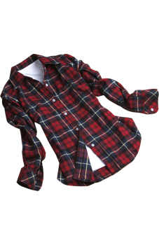 Button Plaids Shirt Top Blouse (Red)