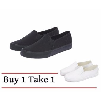 Buy 1 Take 1 Canvas Slip On Loafers for Women - All Black and All White