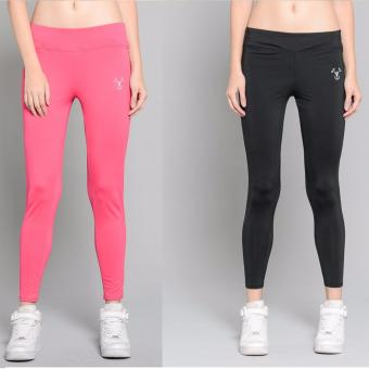 BUY 1 TAKE 1 Outperformer Casual Yoga Leggings with Extra Stretchand Dryperform (Exuberant Pink and Ebony)