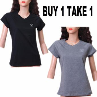 BUY 1 TAKE 1 Outperformer Running Cycling Fitness Cotton RichSports V-Neck Shorts Sleeve (Heather Gray and Black)