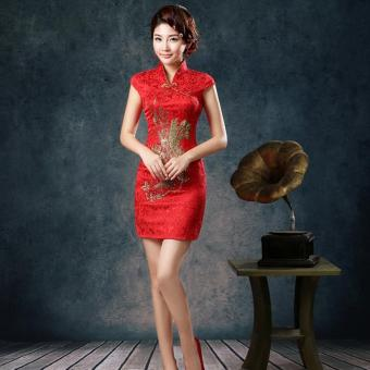 BUYINCOINS Traditional Vintage Chinese Women Satin Short Sleeve Slim Cheongsam Qipao Dress - Intl