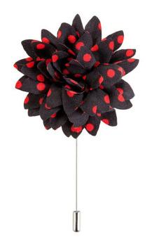 Buytra Men's Boutonniere Lapel Flower Daisy Handmade Dot Black